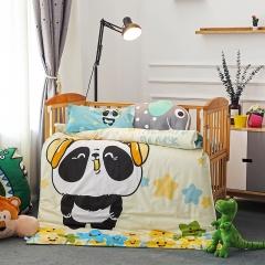 幼儿园大版花三件套 被套+垫套+枕套 动感熊猫