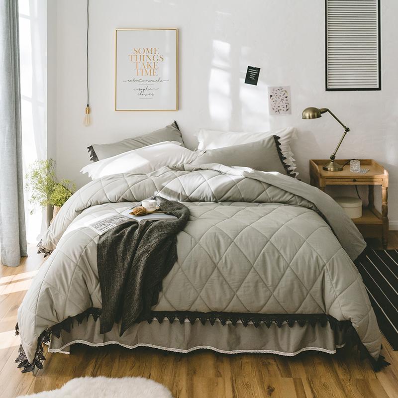 2018全棉绗缝床裙四件套西西里系列