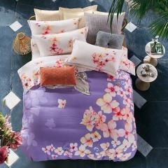 全棉大版印花磨毛四件套 标准 紫色樱花