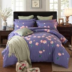 梧桐树-全棉加厚生态磨毛四件套 标准(1.5m-1.8m床) 12卡曼 紫