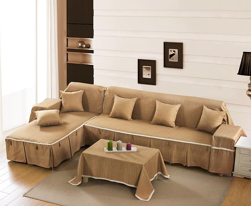 棉麻纯色沙发巾