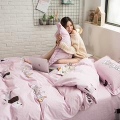 全棉活性生态磨毛四件套 1.8m(6英尺)床 啦啦奇遇-粉