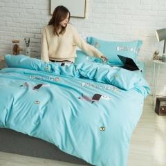 全棉活性生态磨毛四件套 1.8m(6英尺)床 啦啦奇遇-兰