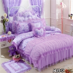 13372  韩版蕾丝床裙款 四件套 1.5米床 风铃草