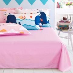 纯棉12868斜纹高密高织纯色单品 床单 床单:120cmx230cm 粉红色