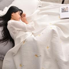 春皖2017新品水洗棉床盖式夏被三件套 150x200cm 雏菊-白