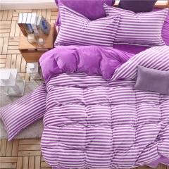 左邻右舍家纺    秋冬暖绒 色织水洗绒四件套