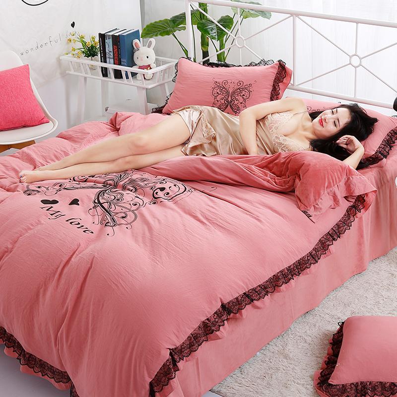 品潮国际水洗棉数码印花韩版保暖水晶绒梦之蝶蕾丝款四件套
