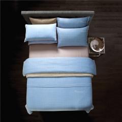 梦幻之城家纺现代简约床上用品色织棉麻四件套 1.8米床适用 格罗佛