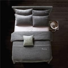 梦幻之城家纺现代简约床上用品色织棉麻四件套 1.8米床适用 普利莫
