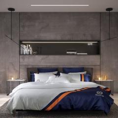 梦幻之城高端床品水洗真丝商务四件套贡缎长绒棉六件套 1.5m(5英尺)床 辛吉德