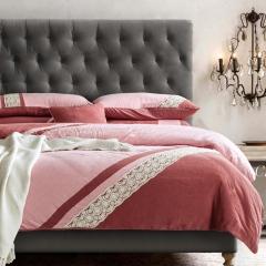梦幻之城简约现代家纺水洗棉麻四件套六件套 1.5m(5英尺)床 杜鲁