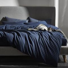 灯芯绒四件套 1.8m(6英尺)床 深蓝色