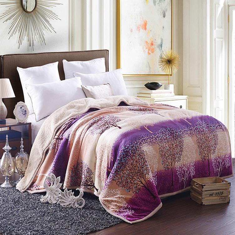 宫喜毯业 双层双拼云貂绒毯