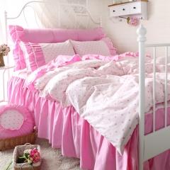 恩和家纺   韩版印花床裙款公主风套件 1.2m(4英尺)床 粉嘟嘟