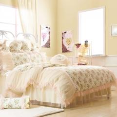 恩和家纺   韩版全棉公主套件系列 1.2m(4英尺)床 亭亭玉立米色