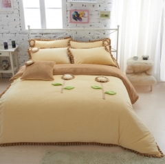 恩和家纺   爆款韩版短毛绒立体花朵系列 1.2m(4英尺)床 小雏菊(柠檬黄)