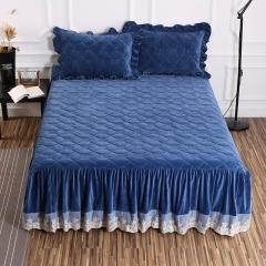 水晶绒夹棉单品-床裙 150*200cm 宝蓝